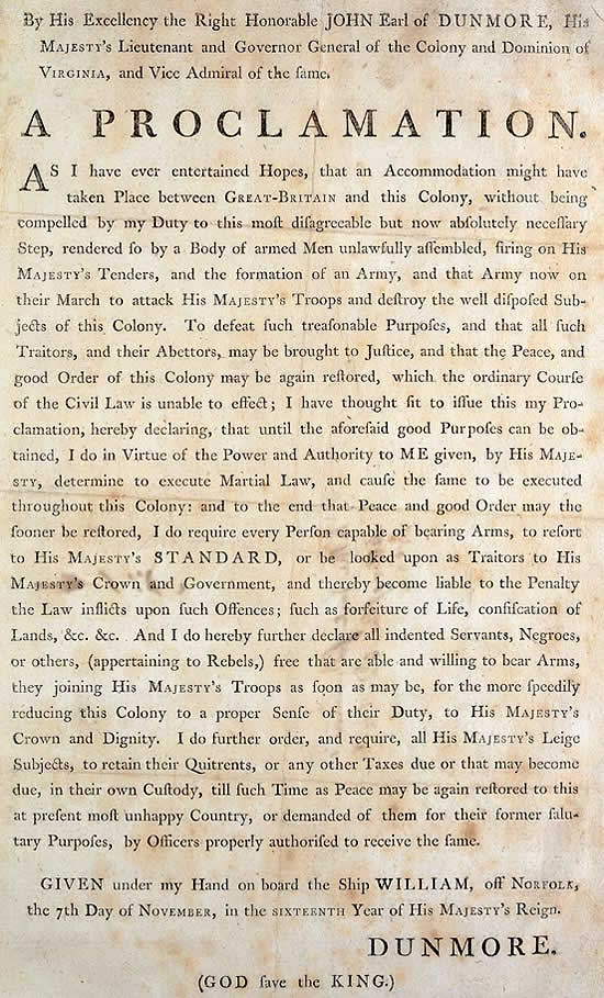 A Proclamation by John Earl of Dunmore in Virginia 7 November 1775