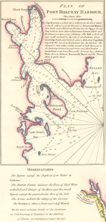 Plan of Port Roseway Harbour 1798 showing Birchtown and Shelburne